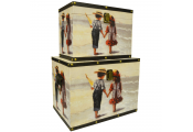 BEACH - Quirky Retro Storage Trunks / Boxes - Multi-coloured