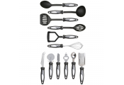 UTENSILS - Complete 12 Set of Kitchen Tools and Gadgets - Black / Silver
