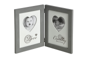 HEART - Wooden 2 Way Folding Double Photo Frame - Grey