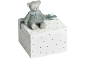 LITTLE BOY - Childrens Teddy Bear Money Box - White / Blue