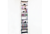 MAXWELL - Wall Mounted 10 Tier Glass 300 CD / 200 DVD / Blu-ray Storage Shelf - Black