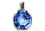 QUARTZ - Blue Quartz and Sterling Silver Octagon Pendant Necklace