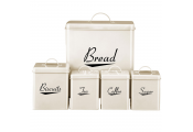 ENAMEL - 5 Piece Kitchen Storage Caddy Set - Cream