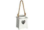 HEART - Wooden Hanging / Free Standing Single Tea light Holder - White