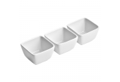 PORCELAIN - Set of 3 Deep Square Serving Dishes / Bowls - White
