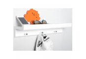 OAKLEY - Wall Mounted 45cm Organiser Floating Shelf with 3 Key / Coat Hooks - White