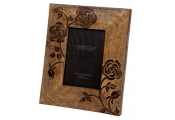 ROSE - Decorative Flower Single Wood Photo Frame - Brown