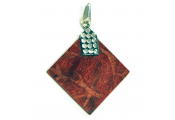 CORAL - Diamond Shaped Red Corel and Sterling Silver Pendant Necklace