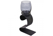 SWIRL - Metal and Glass Single Tea Light Candle Holder - Black / Blue