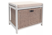 WICKLOW - Laundry Hamper / Storage Stool / Hallway Shoe Bench - White / Cream