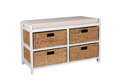 CANTERBURY - Double Hallway / Shoe Storage Bench with Baskets - White / Brown