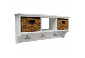 CANTERBURY - Hallway Wall Storage Coat Rack with Baskets and Coat Hooks - White