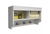CHUBBY - Wall Mounted Storage Cubby Shelf with Coat Hooks - White