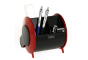 BARREL - Desk / Computer Workstation Tidy Set - Black / Red