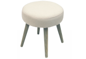TWILL - Retro Scandi Fabric Padded Dressing Stool with Wood Legs - Oatmeal Cream