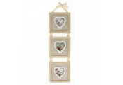 BOW - 3 Heart Wall Mounted Triple Photo Frame  - Brown / White