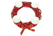 WREATH - Decorative Christmas 4 Candle Willow Holder - Red