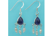 AMETHYST - Amethyst Pearl and Sterling Silver Earrings - Purple