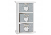 PROVENCE - Bedroom Storage Trinket Drawer Chest with Heart Detail - White / Grey