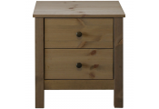 SOLID - Wood 2 Drawer Chest Bedside Cabinet / Table / Nightstand - Light Brown