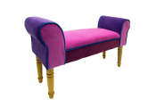 SOLEIL - Contemporary Chaise Padded Pouffe Stool / Wood Legs - Pink/ Purple