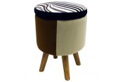 WILDE - Contemporary Retro Round Padded Storage Stool - Black / Brown / Beige