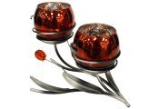 GLOW - Decorative Double Tulip Candle / Tea Light Holder - Red / Silver