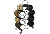 LABELS - Metal Decorative 11 Bottle Wine Rack - Brown / Cream