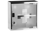 MEDICINE - Wall Mounted Locking First Aid Bathroom Cabinet - Silver