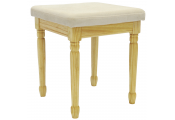 STRAND - Solid Wood Dressing Table Stool with Padded Seat - Pine / Cream