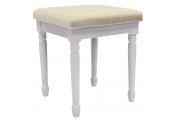 STRAND - Solid Wood Dressing Table Stool with Padded Seat - White / Cream