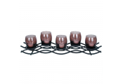 WIGGLES - Metal 5 Tea Light / Candle Holder - Black / Brown