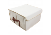 ARCA - Low Folding / Fold Away Canvas Storage Box - Beige / Brown