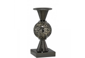 SPARKLE - Mosaic Globe Decorative Single Candle Holder - Black / Gold