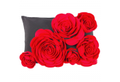 FLOWER - Decorative 3D Rose Cushion - Red / Black