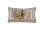 LOVE - Decorative 3D Flower Cushion - Mocha / Gold  / Cream