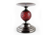 MOZAIC - Metal Globe Single Candlestick - Red / Silver