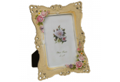 LACE - Decorative Roses Single Free Standing 6 x 4 Photo Frame - Cream / Pink