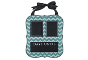 DATE - Chevron Print Chalkboard Wall Calendar - DAYS UNTIL - Blue