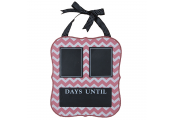 DATE - Chevron Print Chalkboard Wall Calendar - DAYS UNTIL - Pink