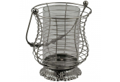 SPIRAL - Metal and Glass Hanging Single Candle Holder Hurricane Lantern - Grey
