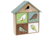 DAWN CHORUS - Bird House Storage Box with 4 Drawers  - Brown / White / Green