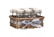 COUNTRY COTTAGE - Set of 6 Spice Jars in Willow Gingham Basket - Brown / White / Blue