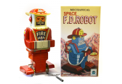 FIREMAN - Retro Tin Collectable Robot Ornament - Red