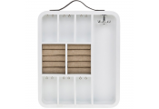 CADDY - Wall Mounted Hanging Jewellery Box / Storage - White / Brown