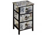 ATLAS - Travel / Map Mini Chest of 3 Storage Drawers - Black / White / Blue