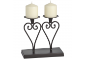 SWIRL - Heart Shaped Metal Double Candle Holder - Brown
