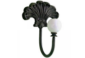 FLEUR - Metal Wall Mounted Single Coat / Towel Hook - Brown / Cream