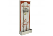 REFRESH - Freestanding Wood Retro Bottle Opener - White / Red
