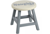NAUGHTY - Solid Wood Decorative Small Step Stool - Grey / Cream
